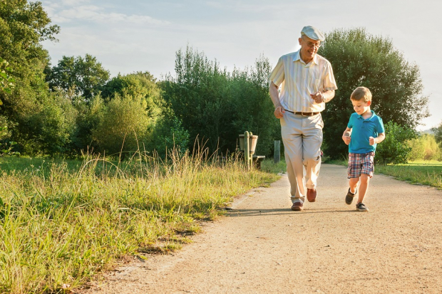 Man and grandson running